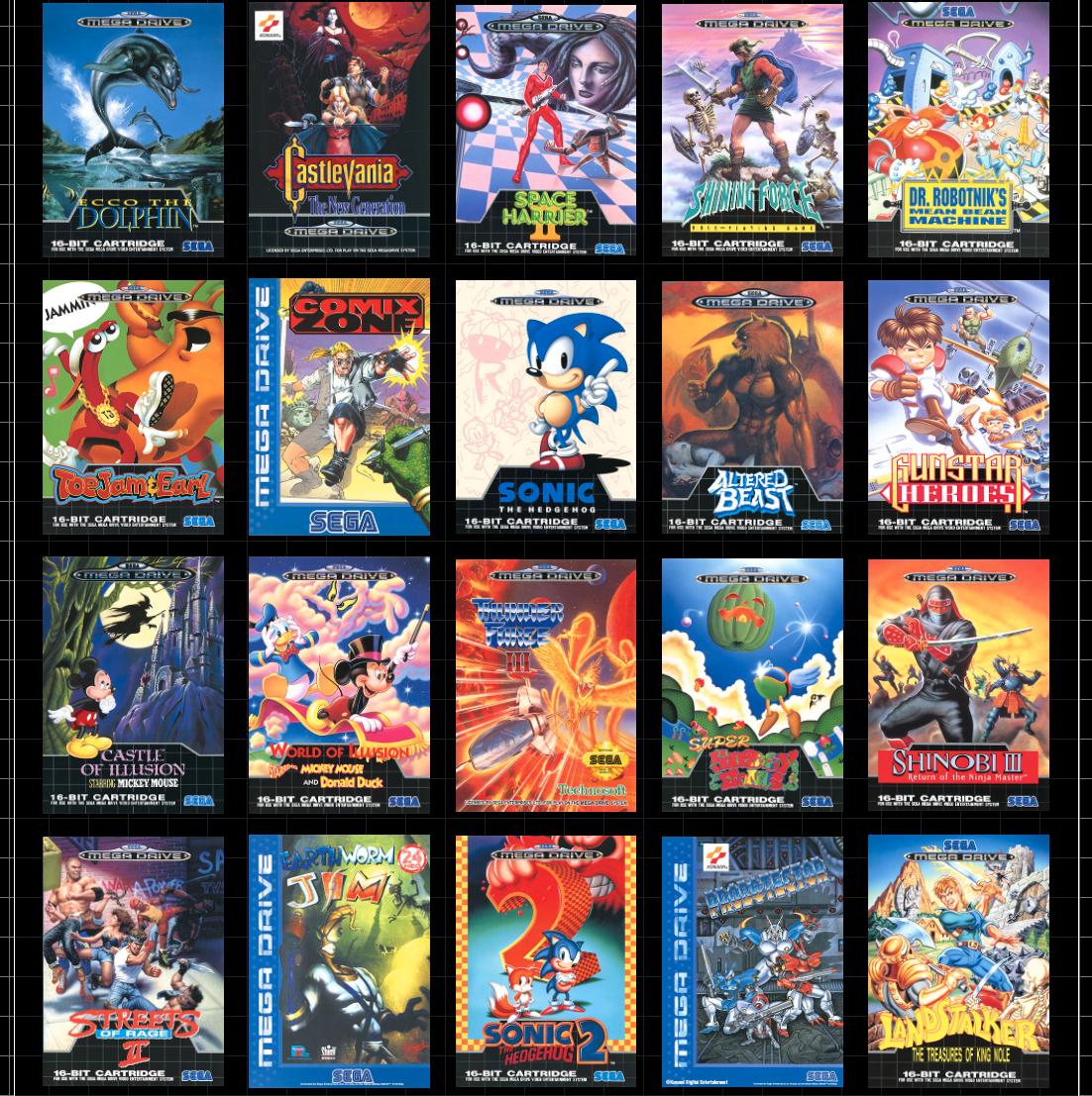 Noen av de 42 spillene som ligger inne på Mega Drive Mini.