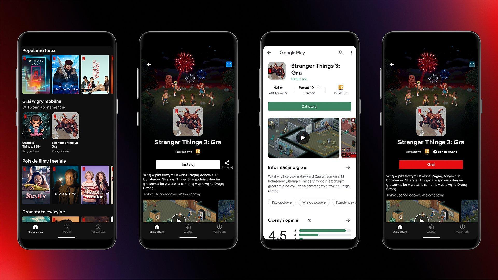 Slik presenteres de nye spillene i den polske Netflix-appen.
