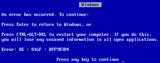Blåskjermen i Windows 9X. Foto: Wikimedia.