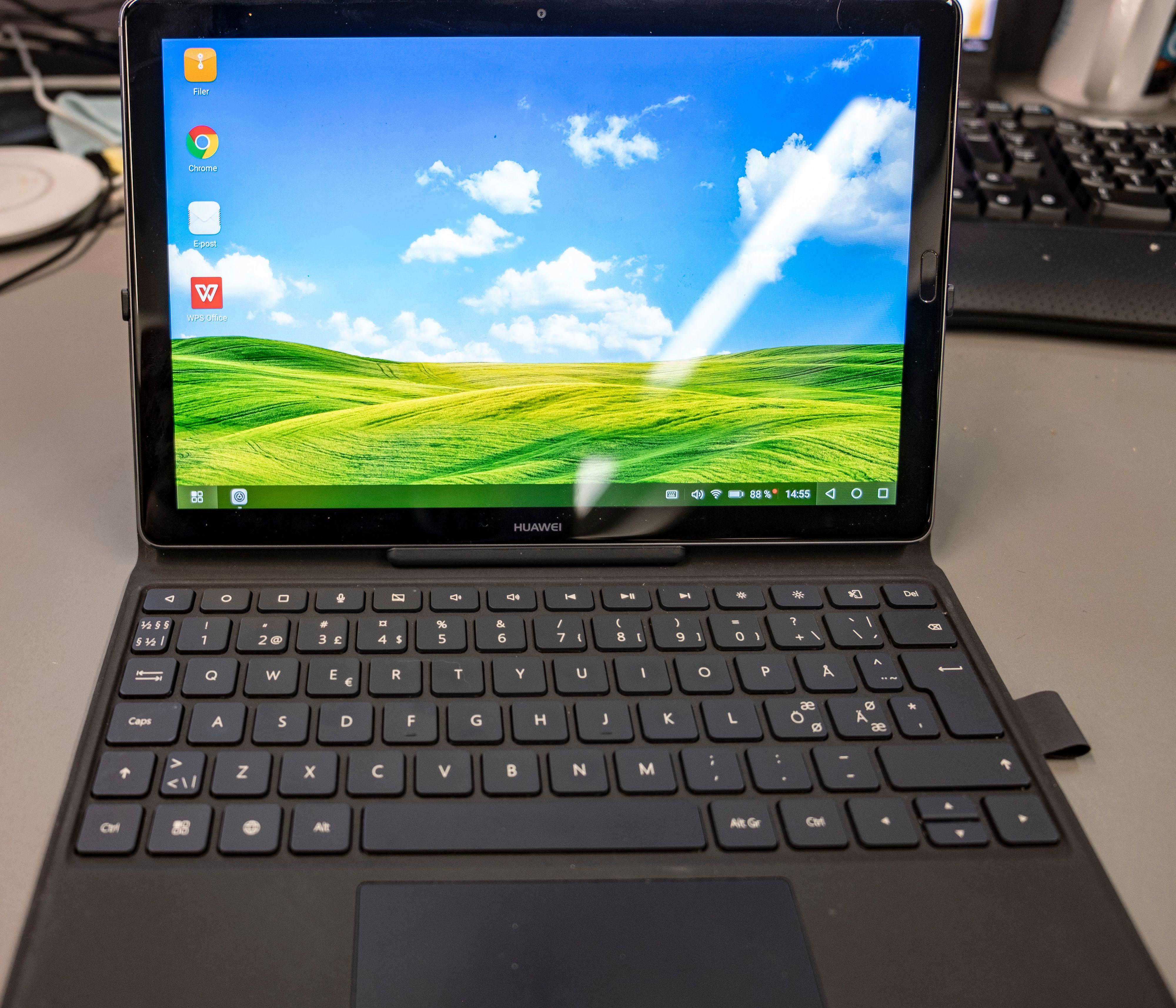 Tastatur og PC-lignende løsning på MediaPad M5-skjermen.