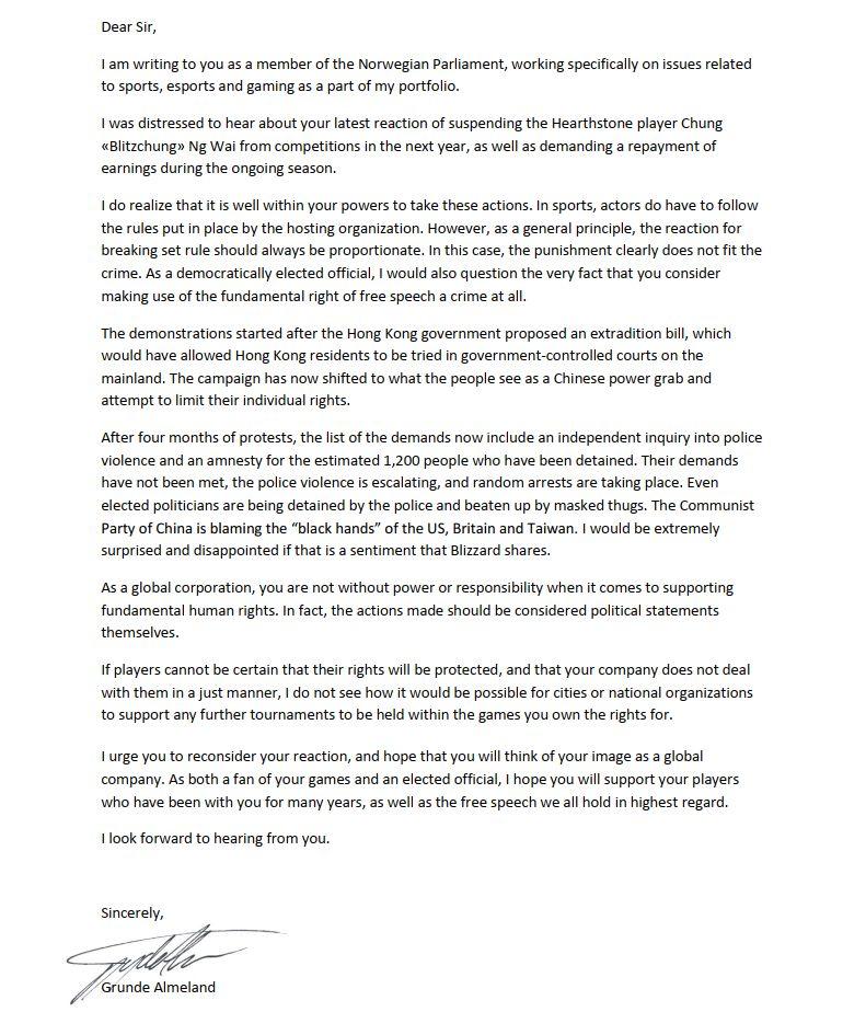 Venstres Grunde Almeland har sendt dette brevet til Blizzard-sjefene.