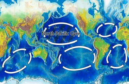 I disse fem sirklene samler det seg søppel. 75 prosent av søppelet man finner i havene er plast. Foto: Public domain