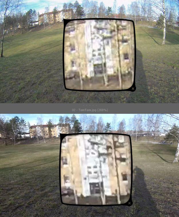 Ser du hvilket som er hva? TomTom Bandit er øverst, Garmin Virb XE er nederst. Klikk på bildet for å se de forstørrede områdene i høyere oppløsning.