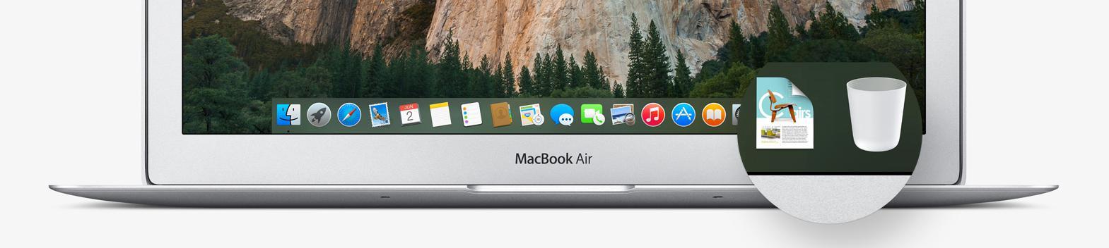 Dock-en er ny i Yosemite, med ny bakgrunn og nye ikoner.Foto: Apple
