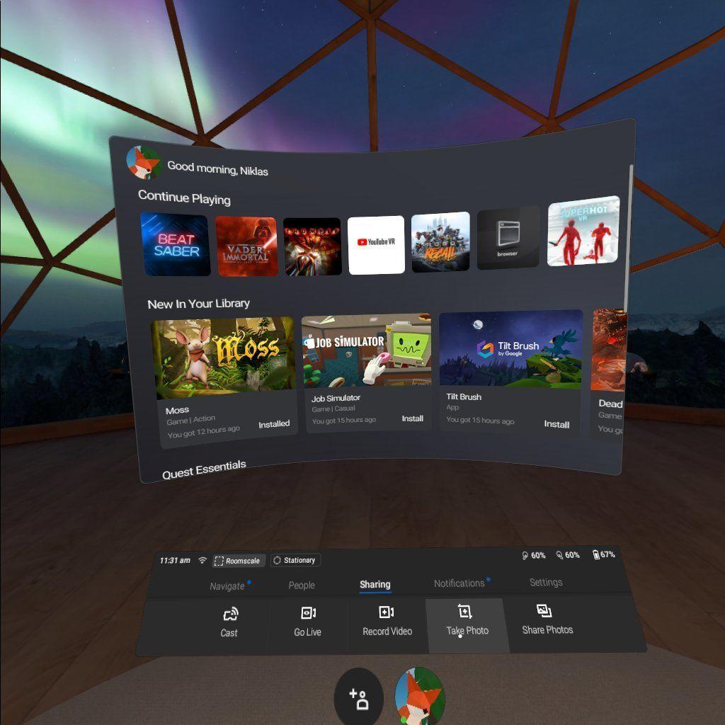 Slik ser menyene ut i Oculus Quest.
