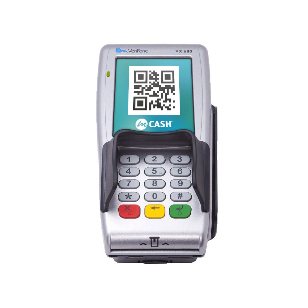 Med mCash kan du betale ved å scanne en QR-kode, her på en Point-terminal.Foto: Mcash