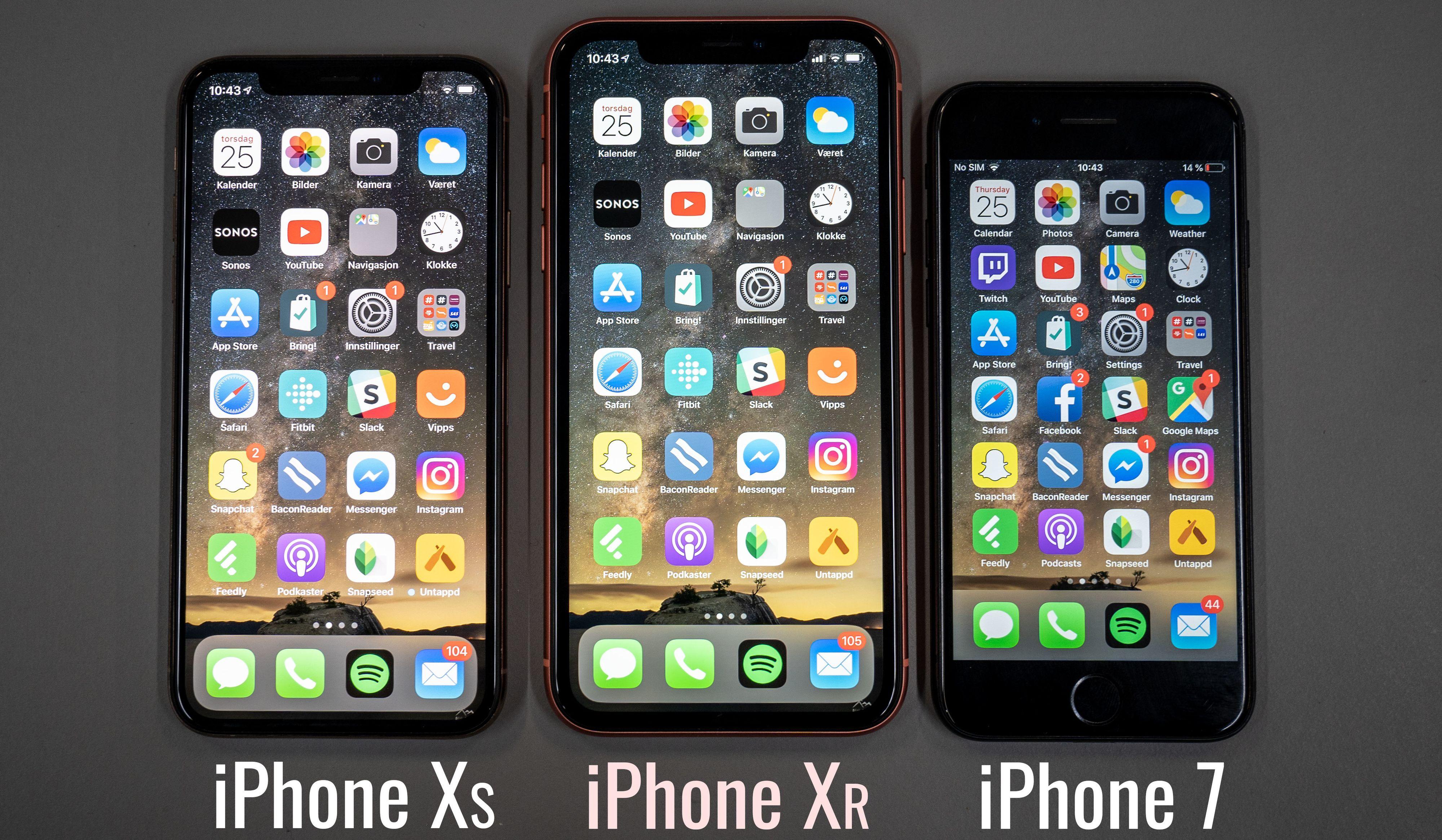 Litt større enn Xs, betydelig større enn iPhone 7 og dens like. iPhone Xs Max er enda større.