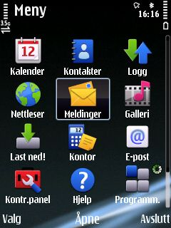 Hovedmenyen har fått samme ikoner som Nokia 5800 Xpressmusic.