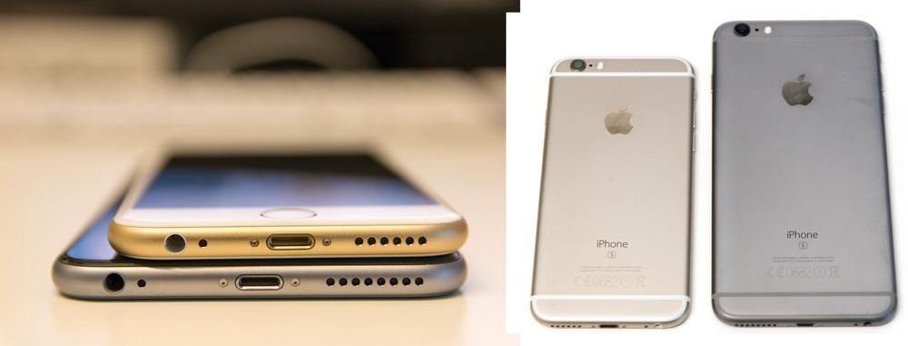 Av dagens iPhone-modeller er det kun Plus-utgavene som har optisk bildestabilisering. Her vist i grå versjon, mot den vanlige iPhone 6S i gull.