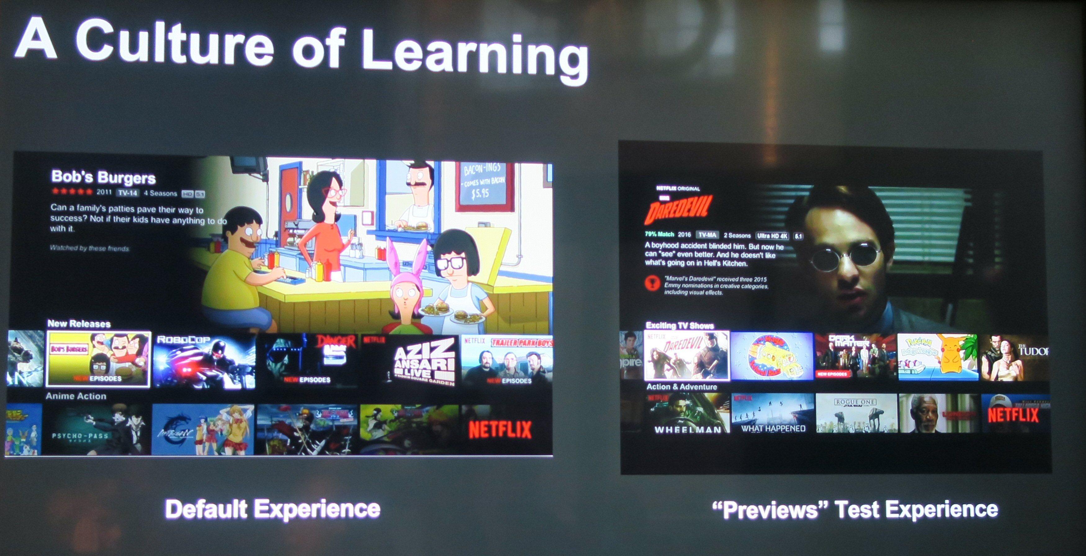 En Netflix-forside med «previews»-presentasjonen byr på levende bilder.