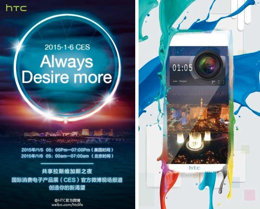 HTC skal ha et lanseringsarrangement under årets CES. Ryktene har spekulert i en oppfølger til One (M8), men alt tyder på at vi får se en ny Desire-modell.Foto: HTC/Weibo, Steve Hemmerstoffer/Twitter