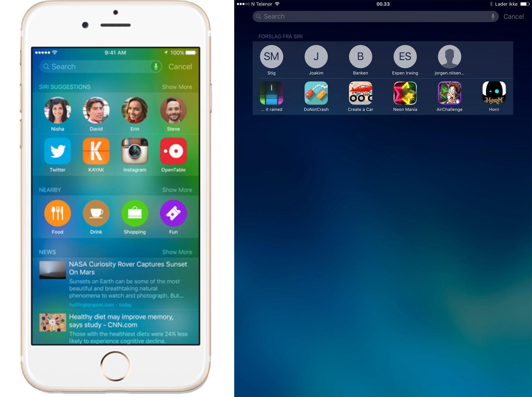 Til venstre er slik Apple presenterer den nye hjemmeskjermen for Siri-funksjonene. Til høyre er den litt ribbete utgaven vi får opp. Foto: Finn Jarle Kvalheim, Tek.no