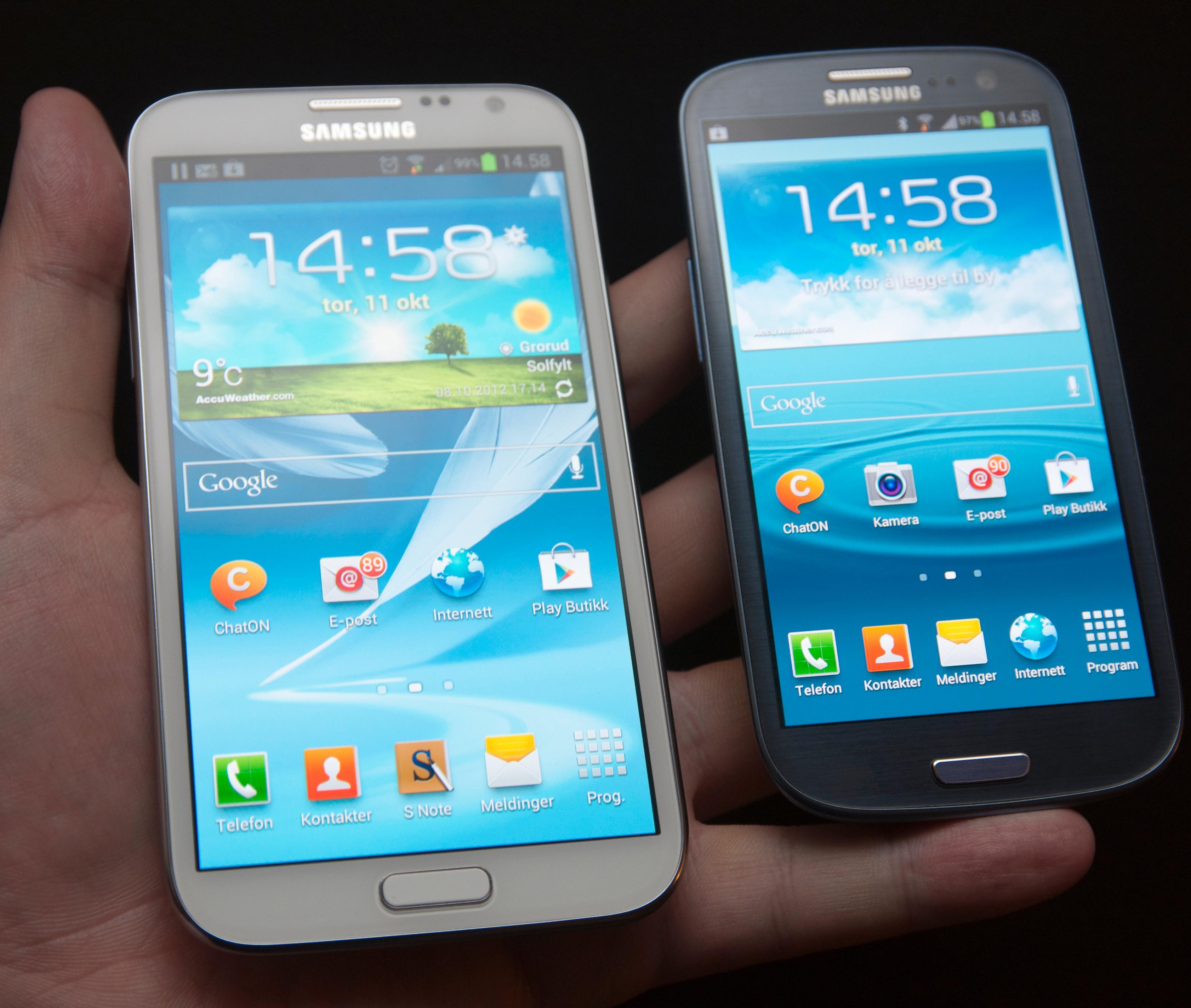 Galaxy Note II har samme designspråk som Samsungs andre toppmodell; Galaxy S III.Foto: Finn Jarle Kvalheim, Amobil.no