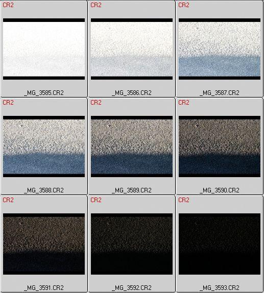 Eksempel på en bildeserie som man kunne ha brukt til kalibrering. Hele det dynamiske omfanget er dekket, og det er ett EV-trinn mellom hvert bilde. Men filene vist over foreligger i RAW. En kalibreringssekvens må lagres i JPEG, i kameraet.