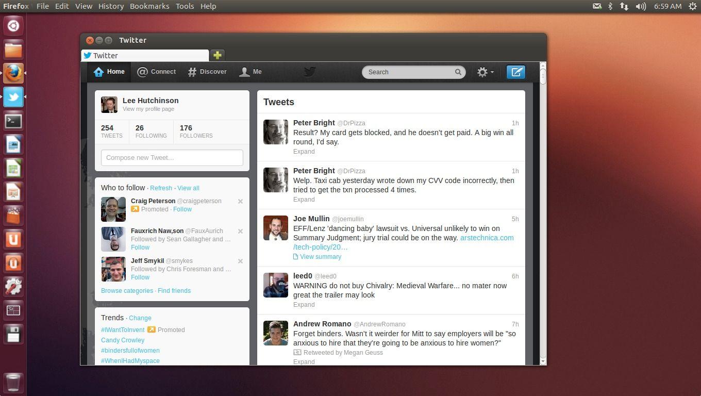 Twitter er nå en integrert nettapplikasjon på skrivebordet.Foto: Canonical / Ars Technica