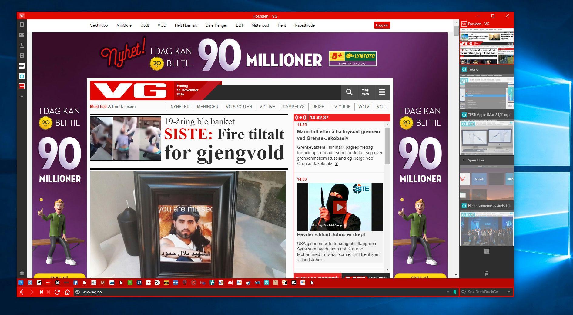 Nettleseren tar fargene til innholdet om du ikke har valgt noe annet selv. Dermed blir den knall rød når vi besøker VG-nett.