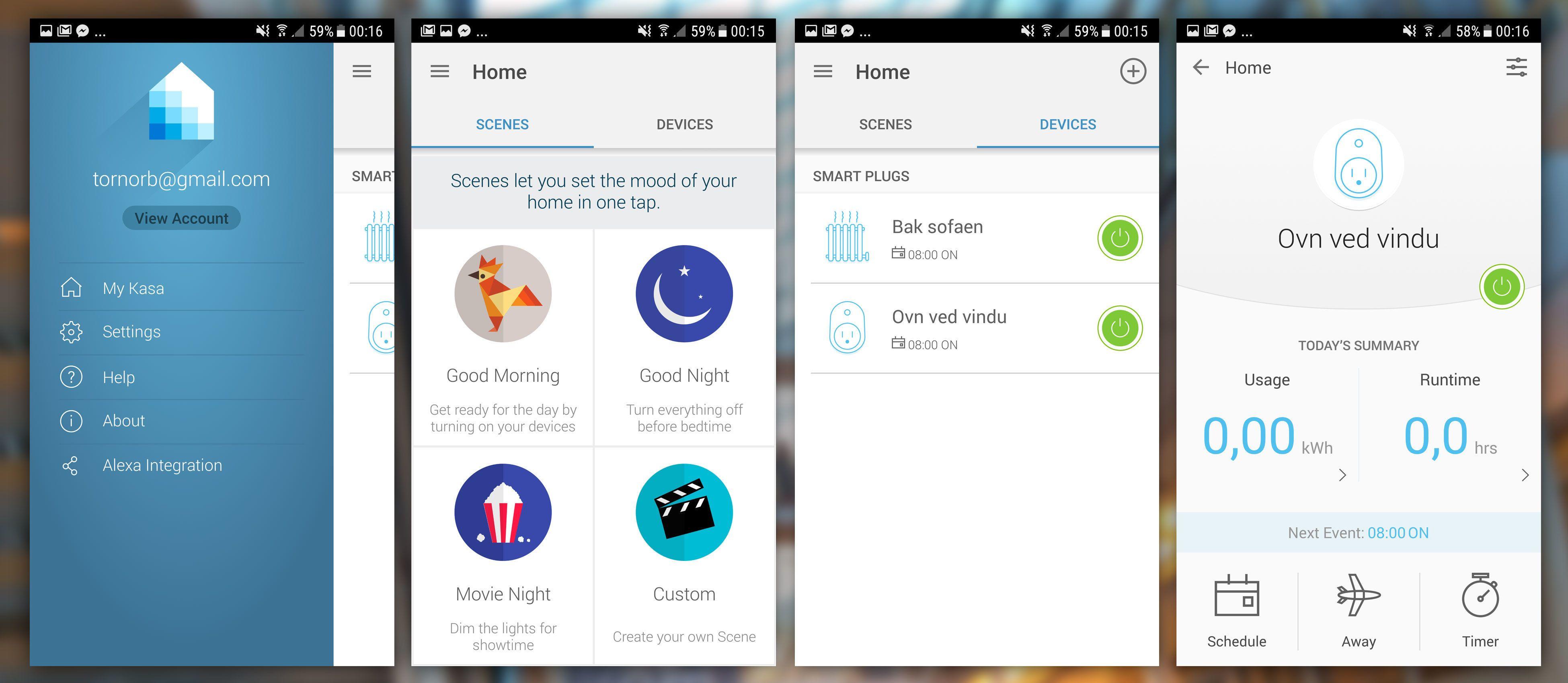 TP-Link har også en finfin app, som kan kobles opp mot både IFTTT og Amazons Alexa. Også egne dagsmoduser finner du her. Én av pluggene vi fikk måler strøm, og har følgelig en «Usage»-meny.