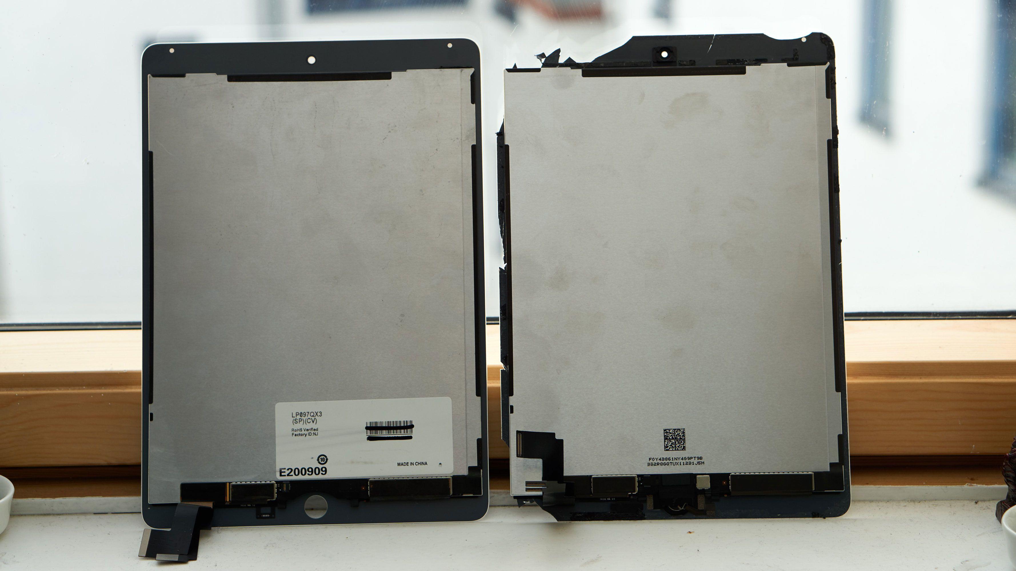 Ny (venstre) og gammel skjerm.