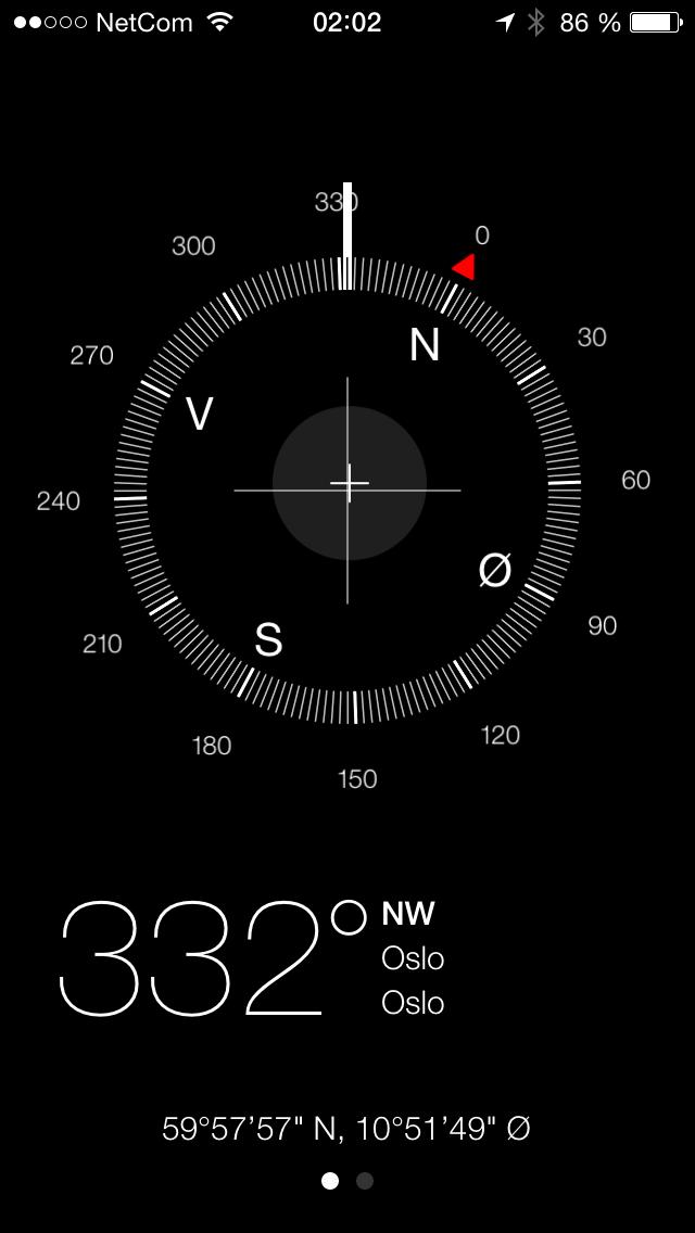 En egen kompass-app følger med. Dette virker å være en av de mer presise vi har vært borti.