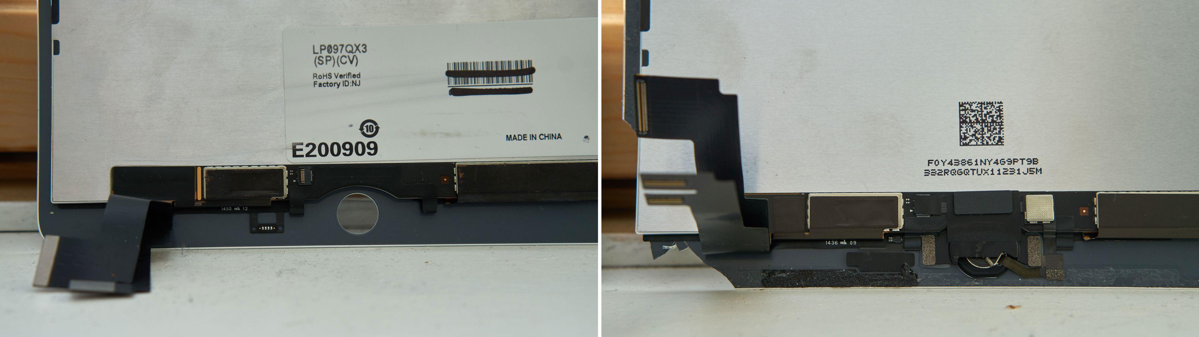 Bakside-bunnen av ny (venstre) og gammel skjerm.