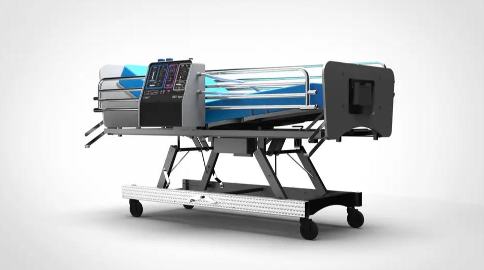 Slik skal maskinen se ut når den er montert på en sykehusseng.