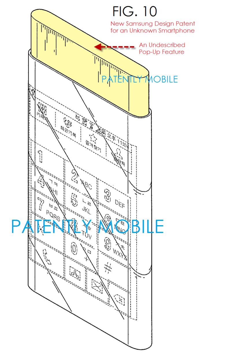 Den lekkede patenttegningen vise en mobiltelefon fra Samsung som kan være Glaxy S6 med både buet skjermpanel og en utfellbar kjerne. Foto: Patently Mobile