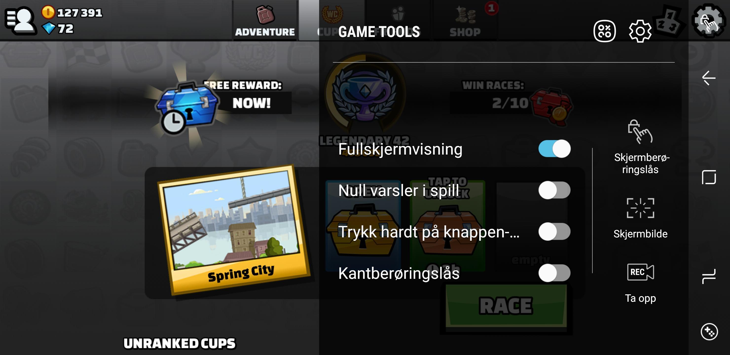 Spill tilpasser seg ofte automatisk, men du får en del innstillinger ved siden av. For eksempel kan du deaktivere den virtuelle hjem-knappen.