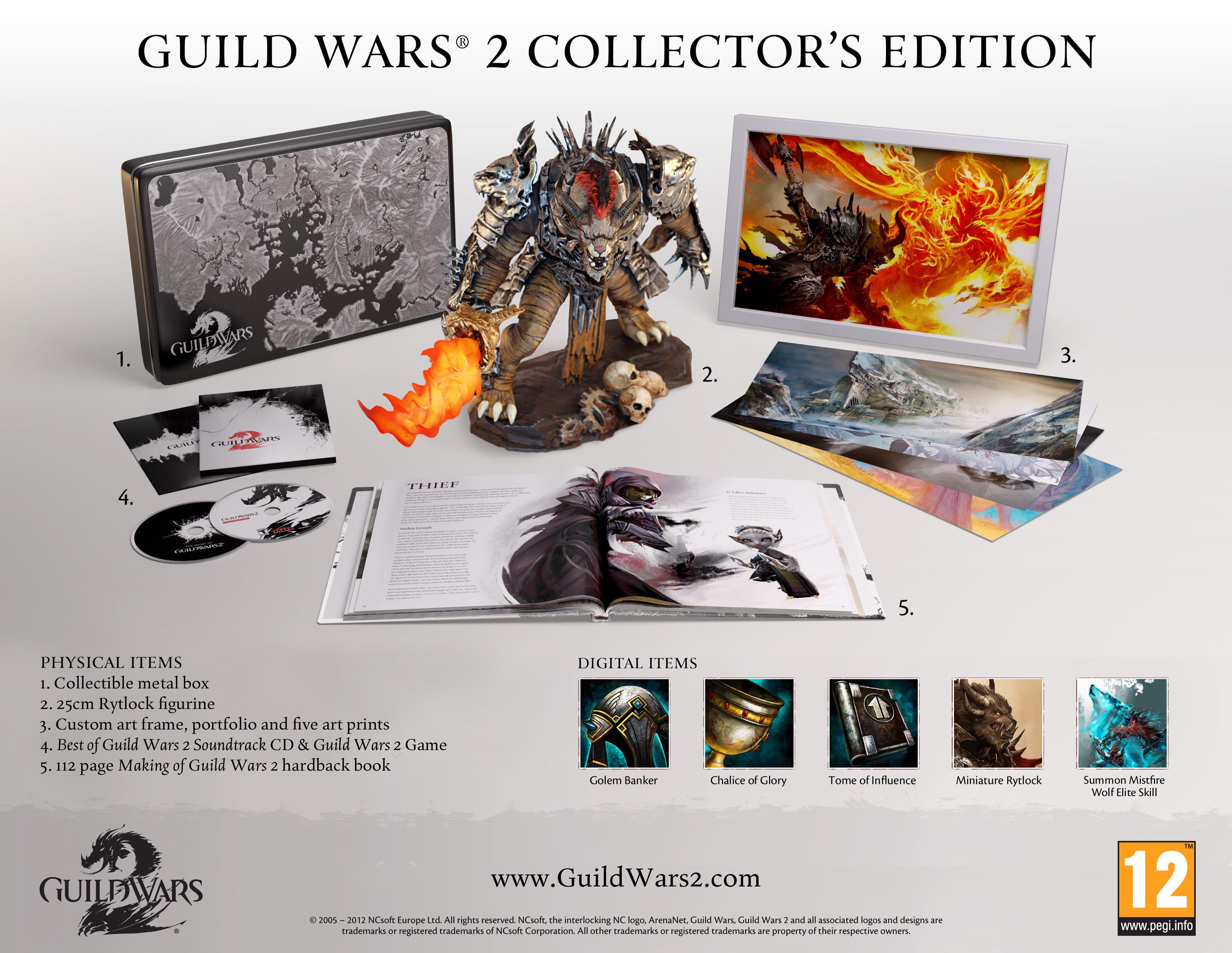 Alt innholdet i Guild Wars 2: Collector's Edition.