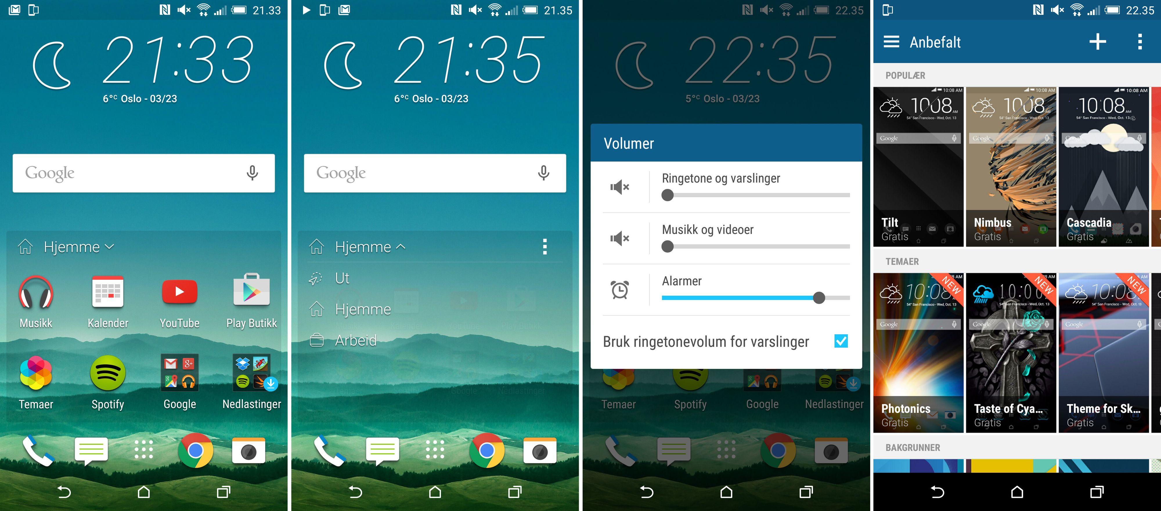 De nye hjemmeskjermene kan foreslå ulike apper avhengig av hvor du er. Legg dessuten merke til at HTC One M9 har den gode gamle stillemodusen som ren Android ikke lenger støtter. Foto: Finn Jarle Kvalheim, Tek.no