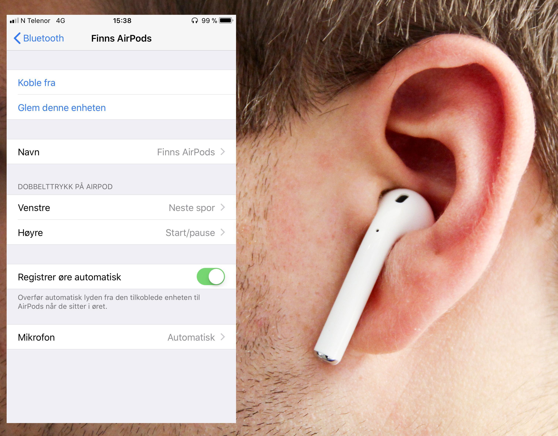 Nå kan man bestemme hva som skal skje dersom man tapper på AirPods-ørepluggene.