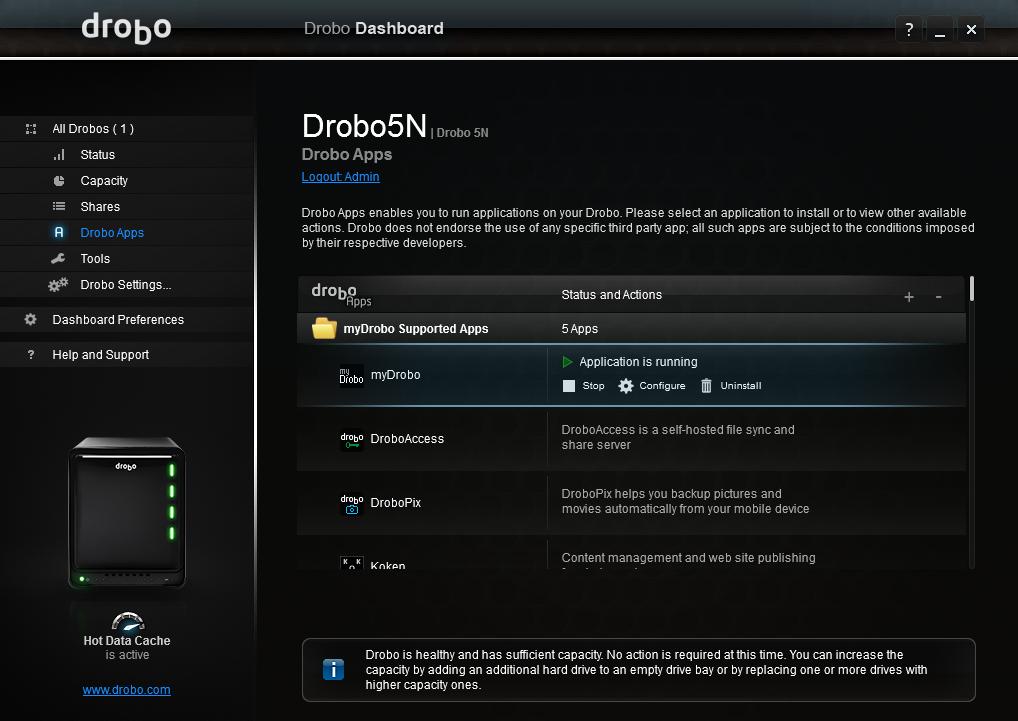 Også appene administreres gjennom Dashboard.
