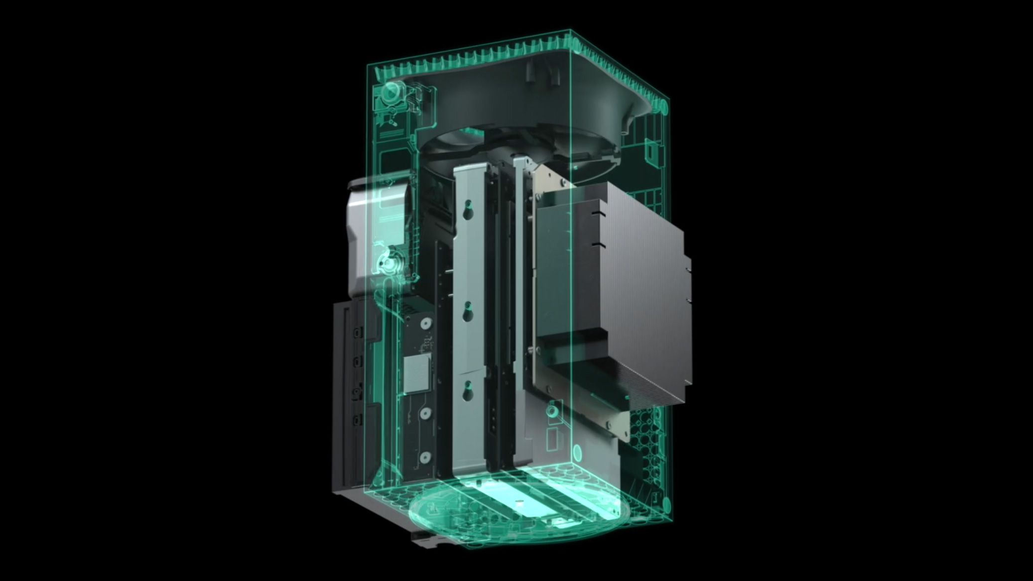 Slik ser Xbox Series X ut på innsiden. Merk den store viften i toppen og kraftige kjøleribben med dampkammer bakerst til høyre.