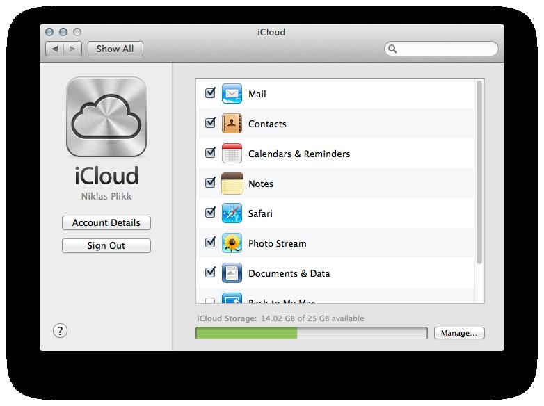 iCloud settes opp på samme måte som i OS X Lion.