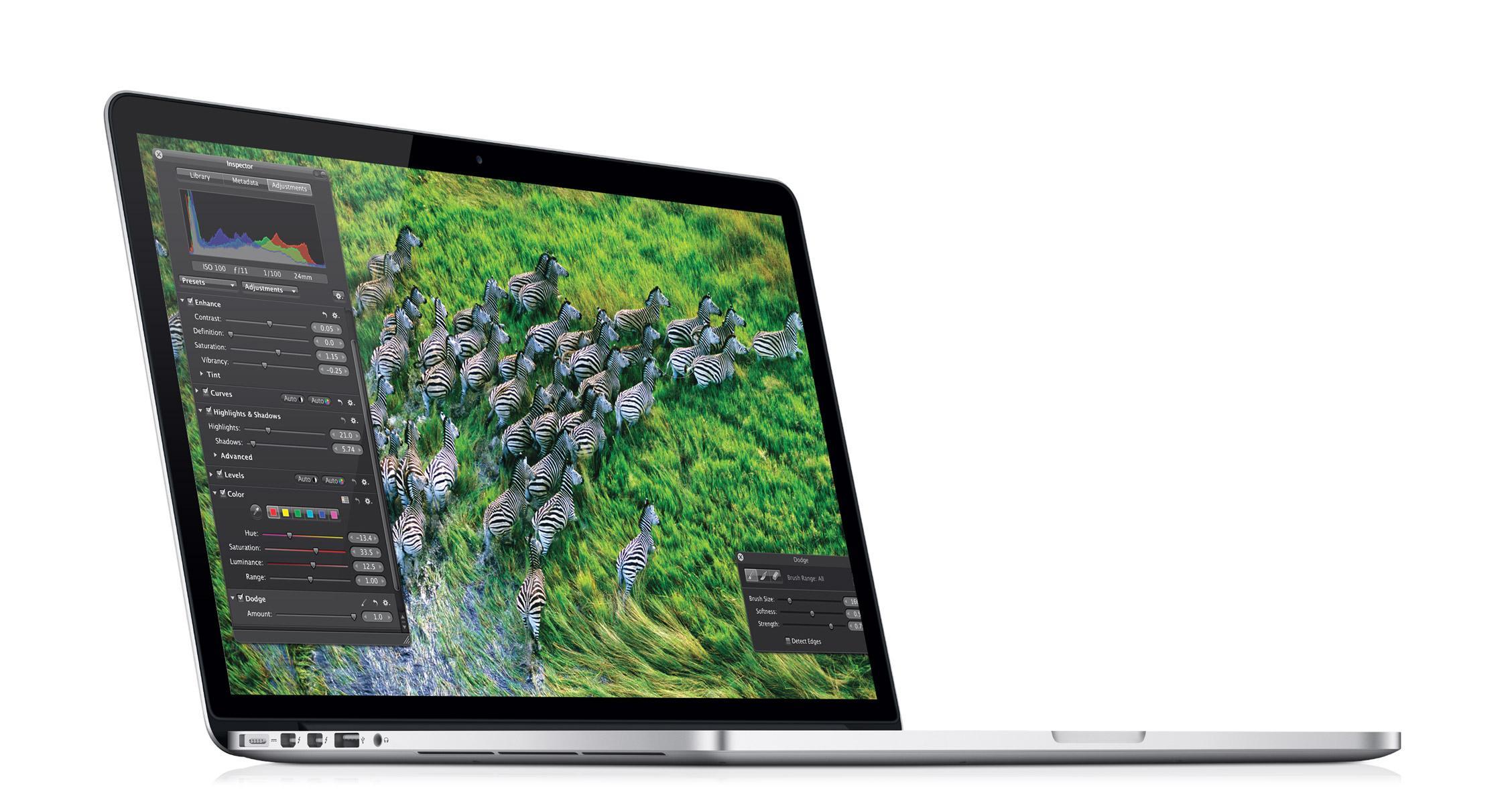 Oppløsningen på den nye Retina-skjermen er på hele 2880 x 1800 piksler. .Foto: Apple