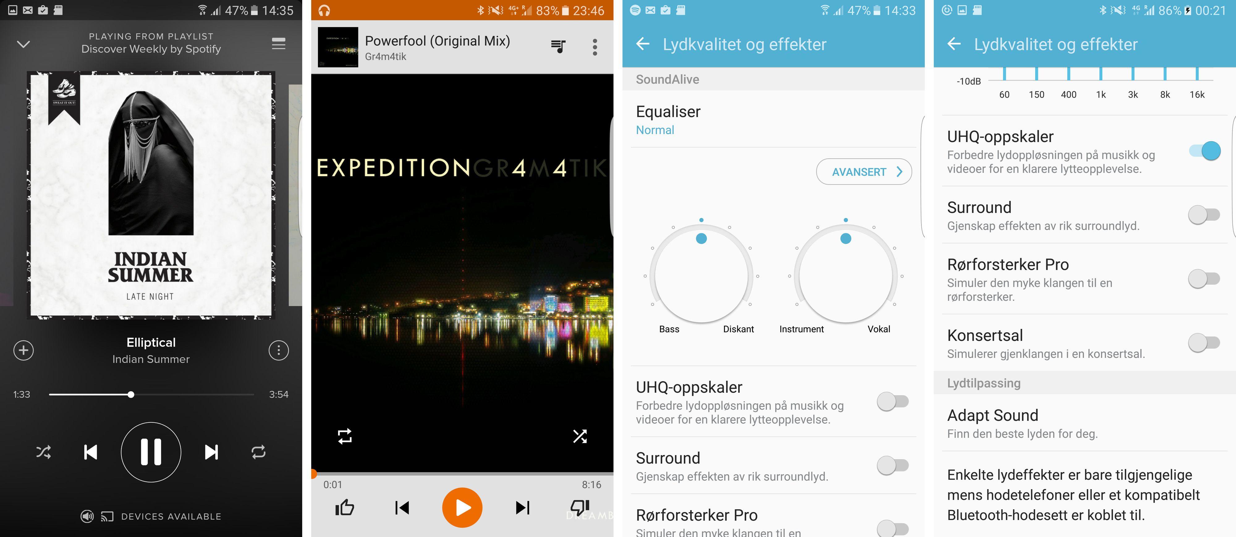 En mengde lydinnstillinger er tilgjengelige, og du kan også tilpasse lyden til din egen hørsel. Innstillingene virker enten du bruker Google Play Music som følger med, eller andre tjenester.