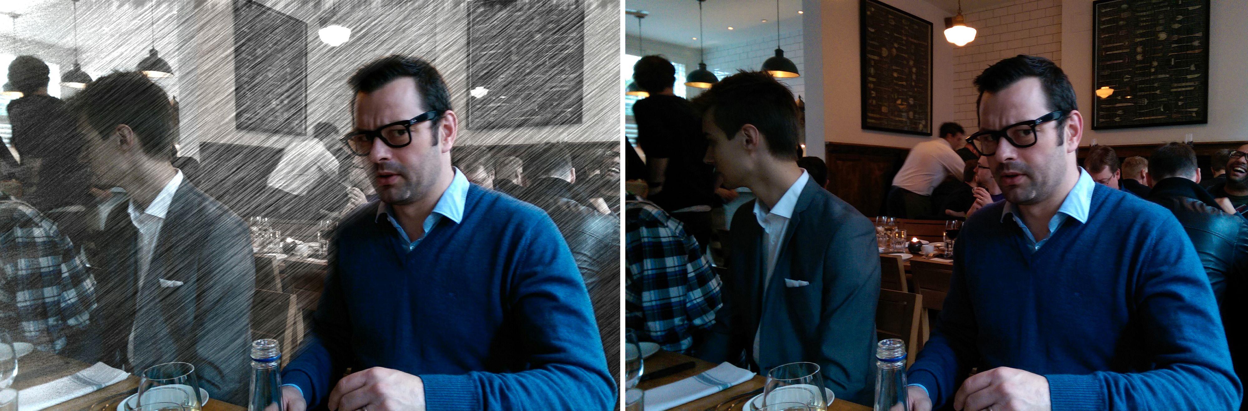 Slik kan du sette fokus på en person, og gjøre endringer i resten av bildet. Originalen til høyre .Foto: Espen Irwing Swang, Amobil.no