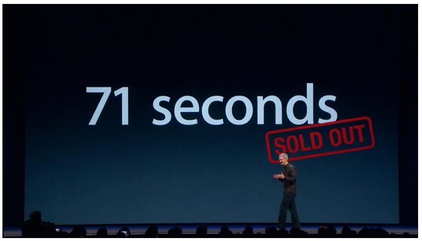 Det tok bare 71 sekunder før alle billettene til WWDC var utsolgt.Foto: Apple