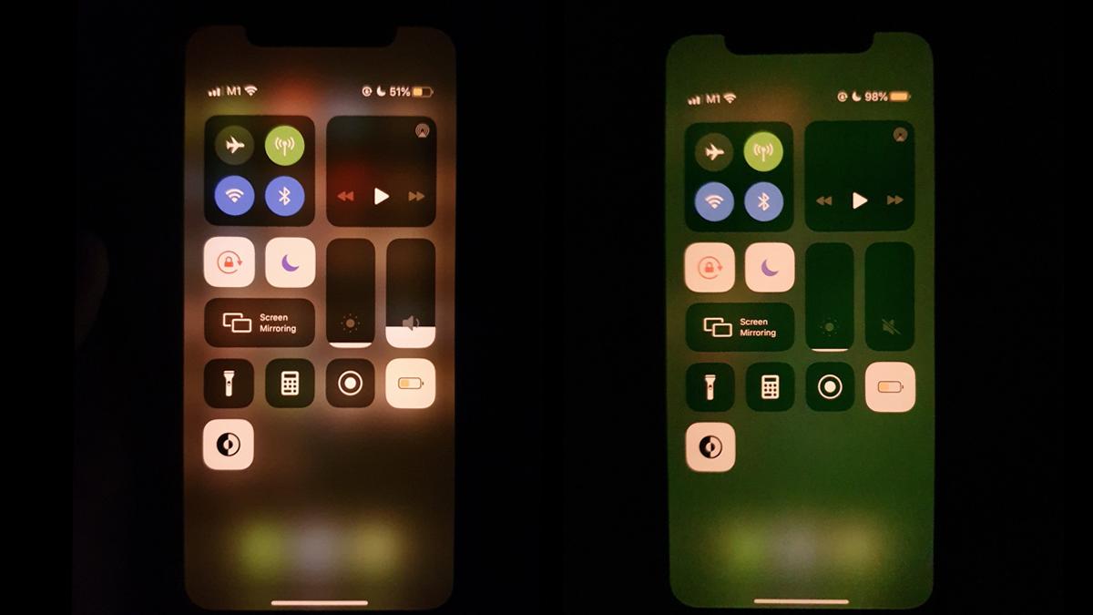 Til høyre ser du et eksempel på grønnskjæret enkelte opplevde hos sin iPhone 11-skjerm.