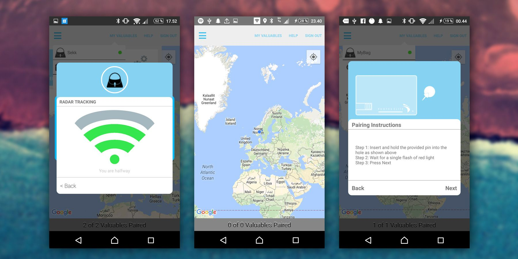 Slik ser radar-funksjonen (midten), hovedskjermen og instruksjonene for sammenkobling med Elite ut i Protag-appen.