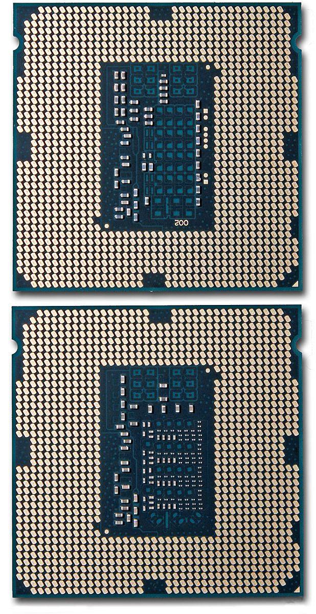 Intel har lagt til flere kondensatorer på undersiden av prosessoren for å gi jevnere strømforsyning. Intel Core i7 4770K over, Intel Core i7 4790K under.