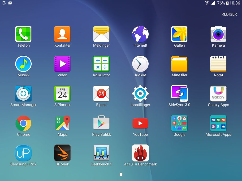 Dette er appene som lå på brettet da vi fikk til det test, med unntak av 3DMark, Geekbench og AnTuTu, som vi har lagt til selv..