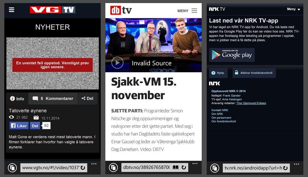KRESEN VIDEOSPILLER: Internet Explorer 11 på telefonen min nekter å spille av video både fra VG, Dagbladet og NRK. Løsningen ble å laste ned egne apper.Foto: Øystein W. Høie