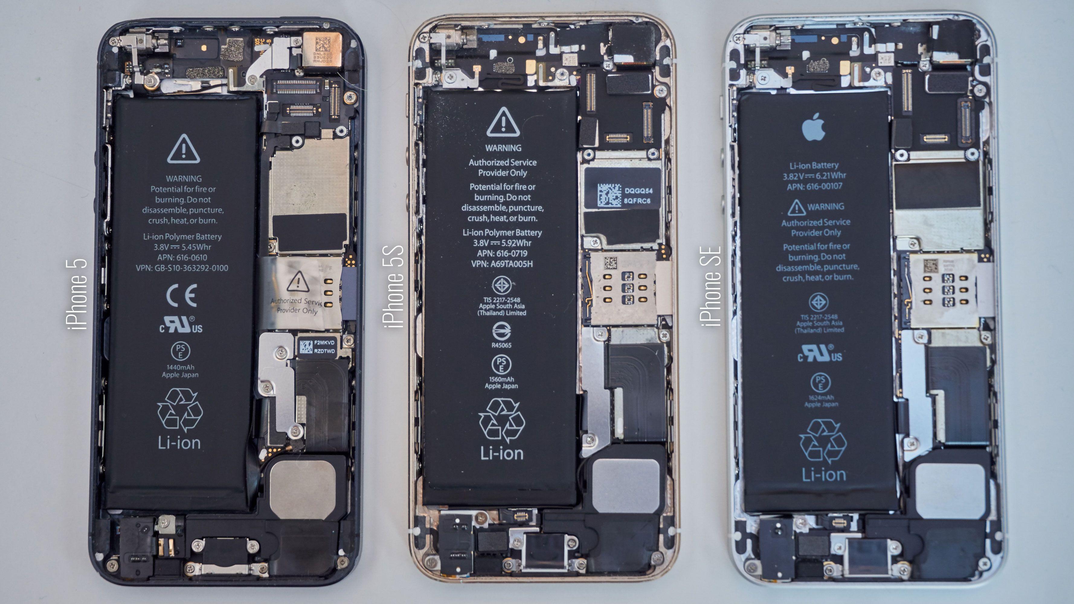 De tre telefonene ved siden av hverandre uten skjerm. Kan du se forskjellene?