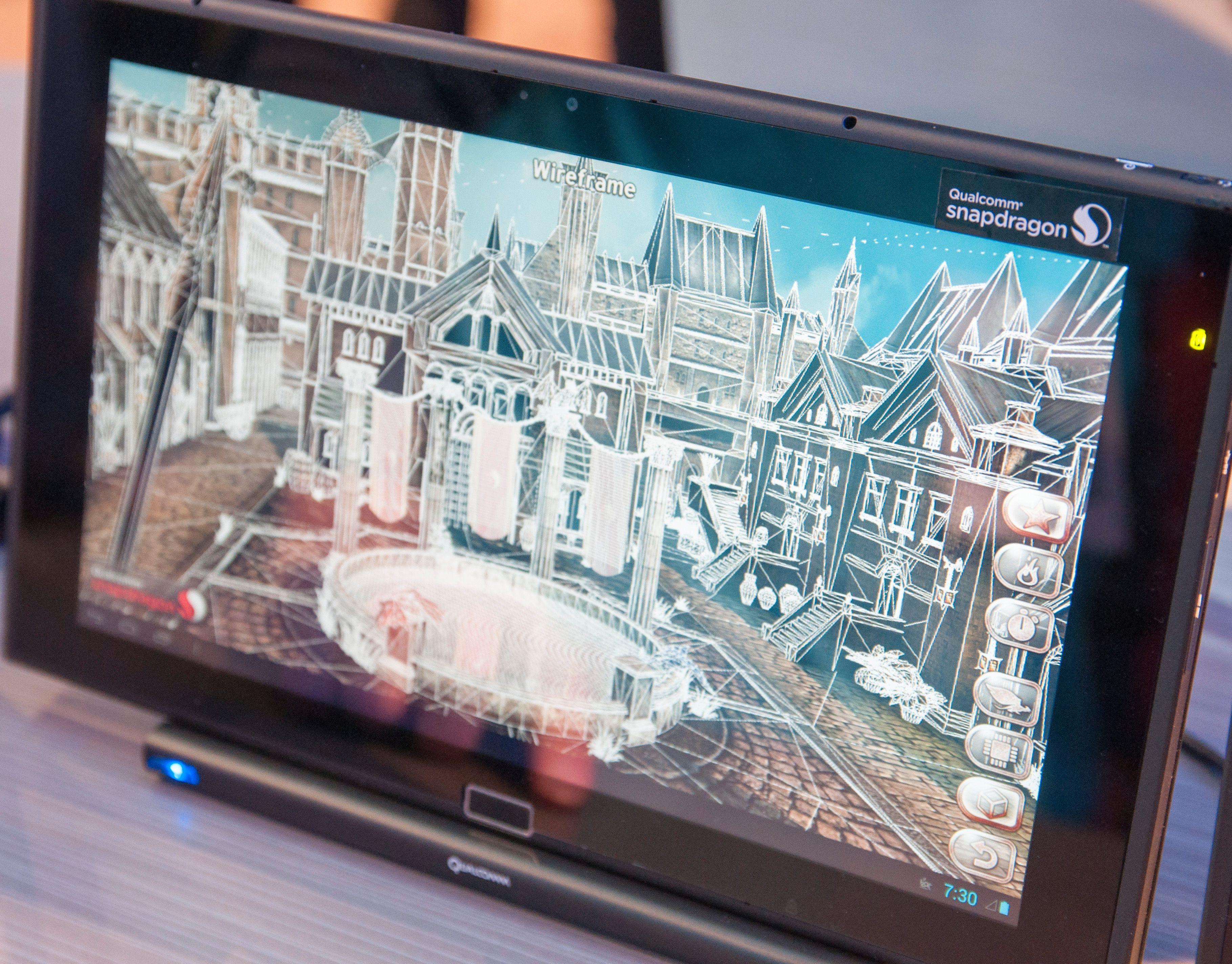 Qualcomm hadde laget en egen teknologidemo til nettbrettet.Foto: Finn Jarle Kvalheim, Amobil.no