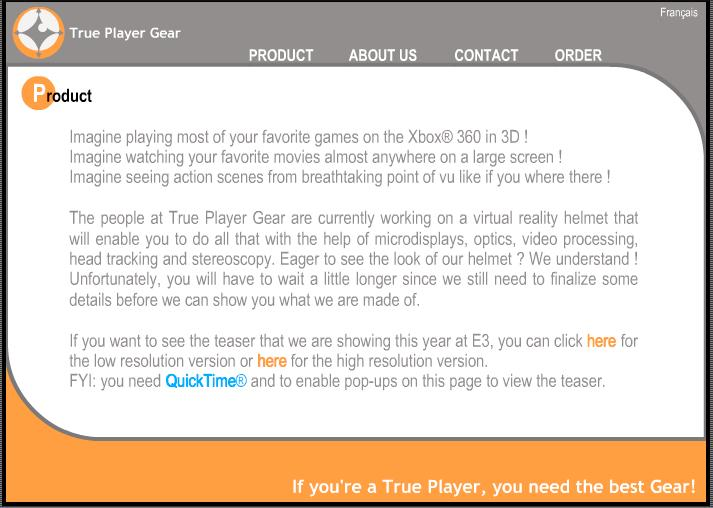 Nettsiden til True Player Gear så slik ut for bare en uke siden.