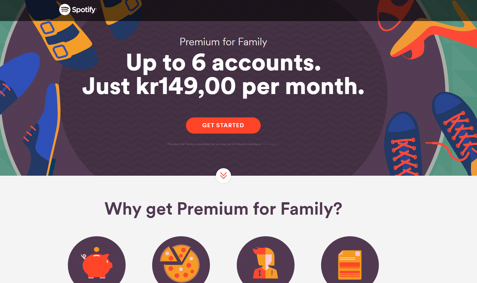 Spotify utvider familiepakken til seks brukere for 149 kroner per måned.