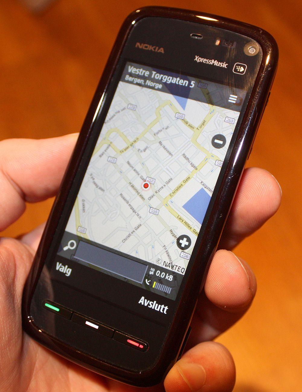 Nokia Maps fungerer bra med trykkskjerm.