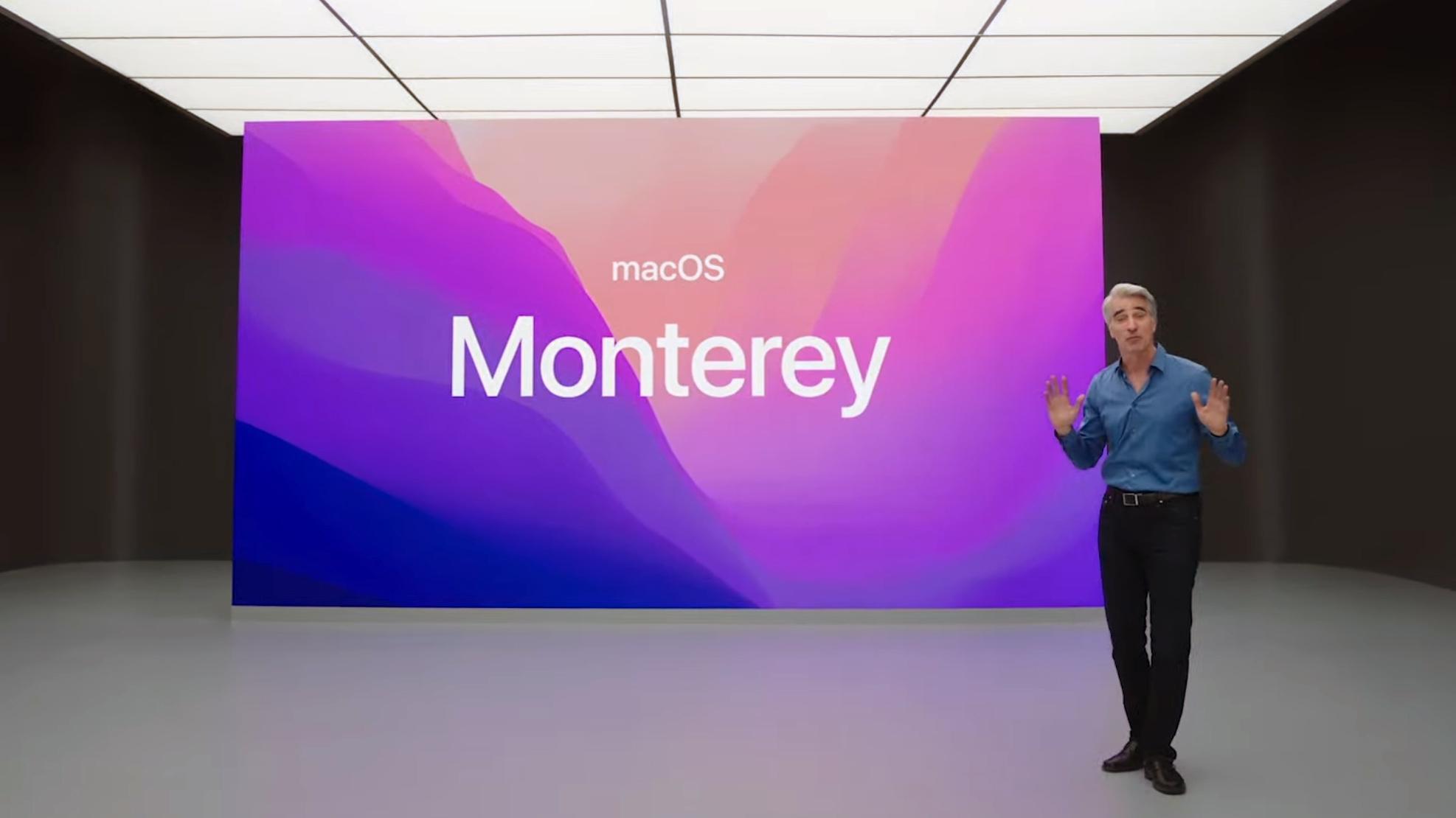 Apples Craig Federighi viser frem nye MacOS Monterey under årets utviklerkonferanse, WWDC.