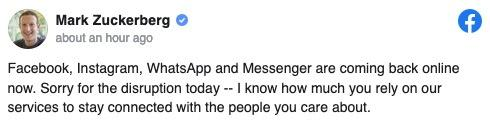 OPPDATERING: Etter seks timer nede, postet Facebook-CEO Mark Zuckerberg dette på sin egen konto.