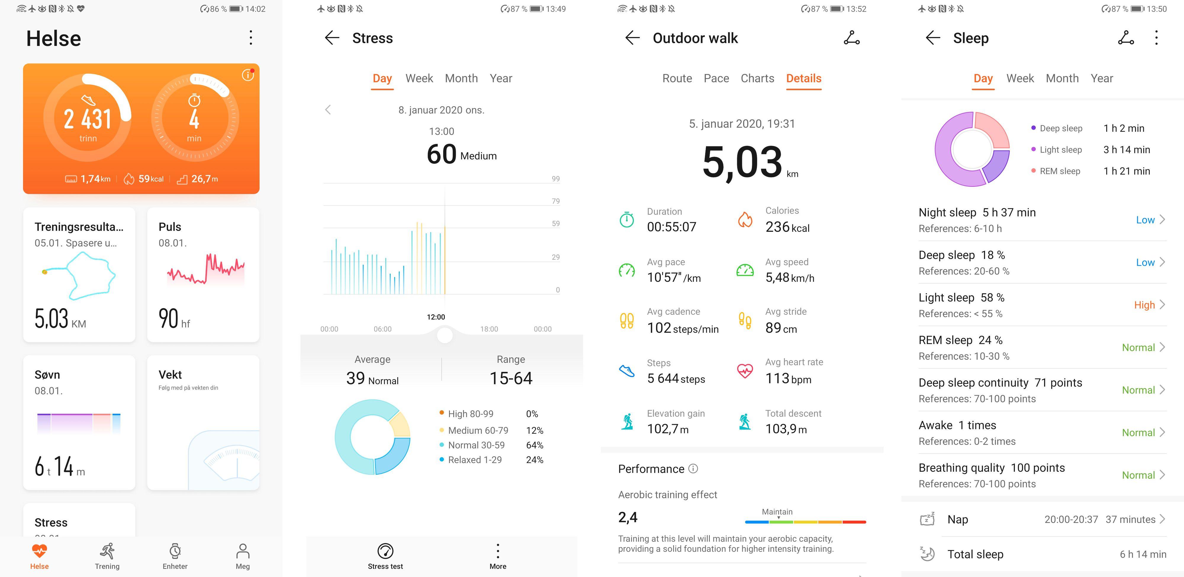 Appen gir et vell av informasjon om helse og aktivitet. Klokka kan måle enkelte faktorer som ikke Samsung eller Apple har i sine verktøykasser, for eksempel stress over tid.